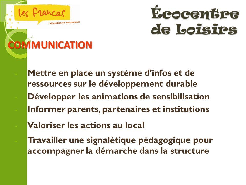 COMMUNICATION Mettre en place un système d'infos et de ressources sur le développement durable. Développer les animations de sensibilisation.