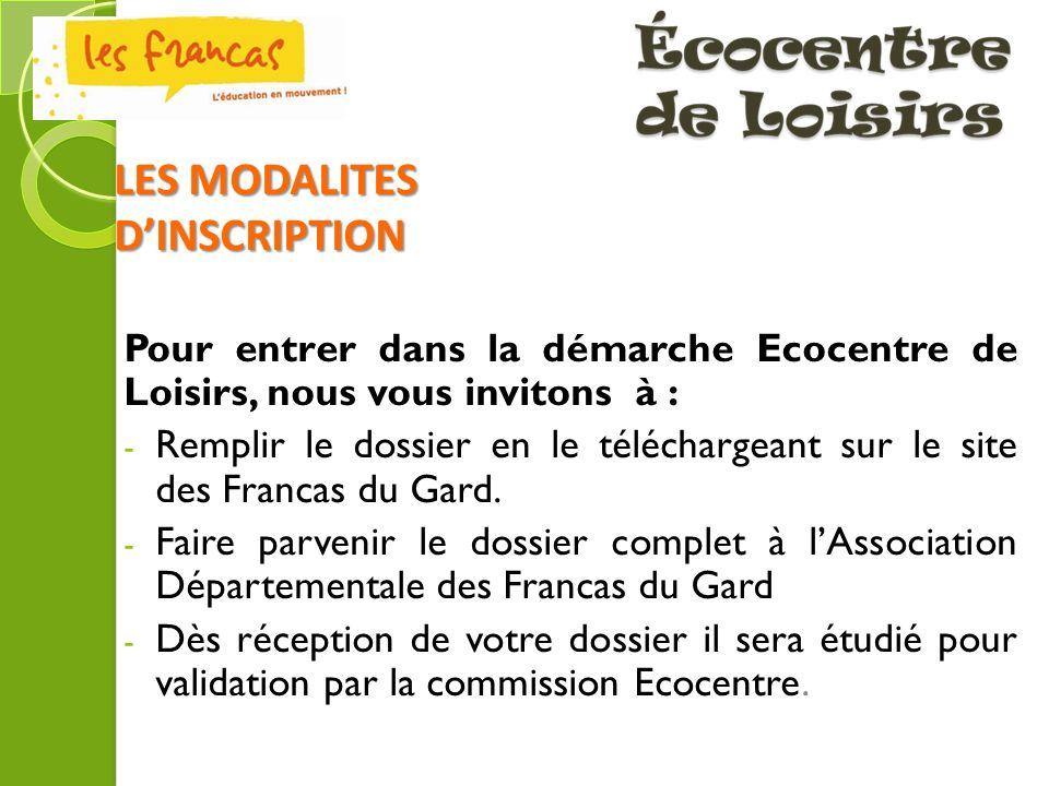LES MODALITES D'INSCRIPTION