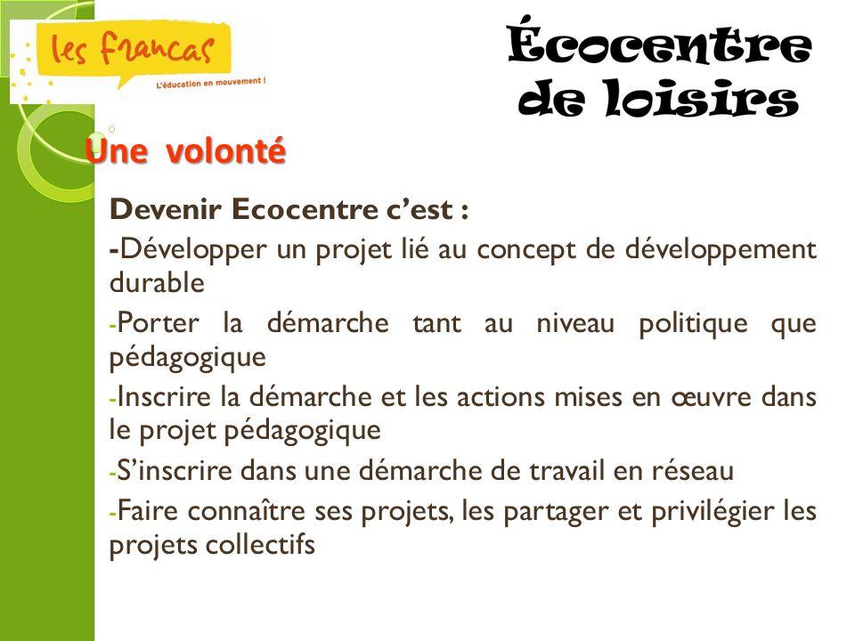 Une volonté Devenir Ecocentre c'est :
