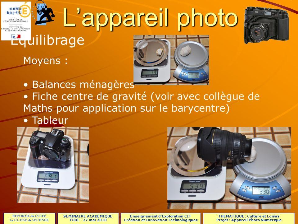 L'appareil photo Equilibrage Moyens : Balances ménagères
