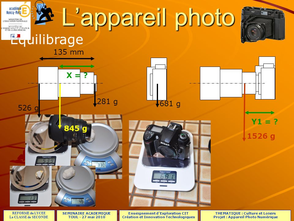 L'appareil photo Equilibrage 135 mm X = 281 g 681 g 526 g Y1 =