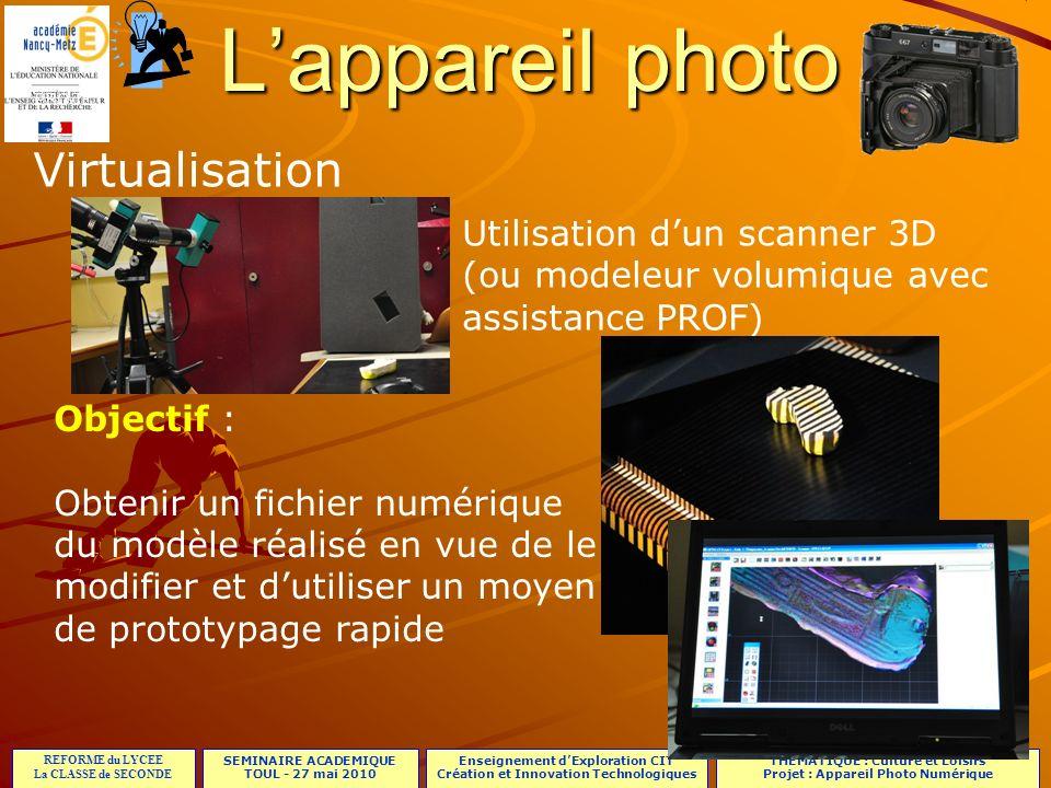 L'appareil photo Virtualisation Utilisation d'un scanner 3D