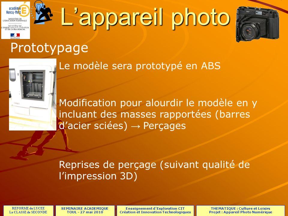 L'appareil photo Prototypage Le modèle sera prototypé en ABS