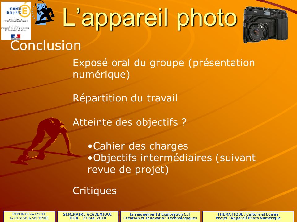 L'appareil photo Conclusion