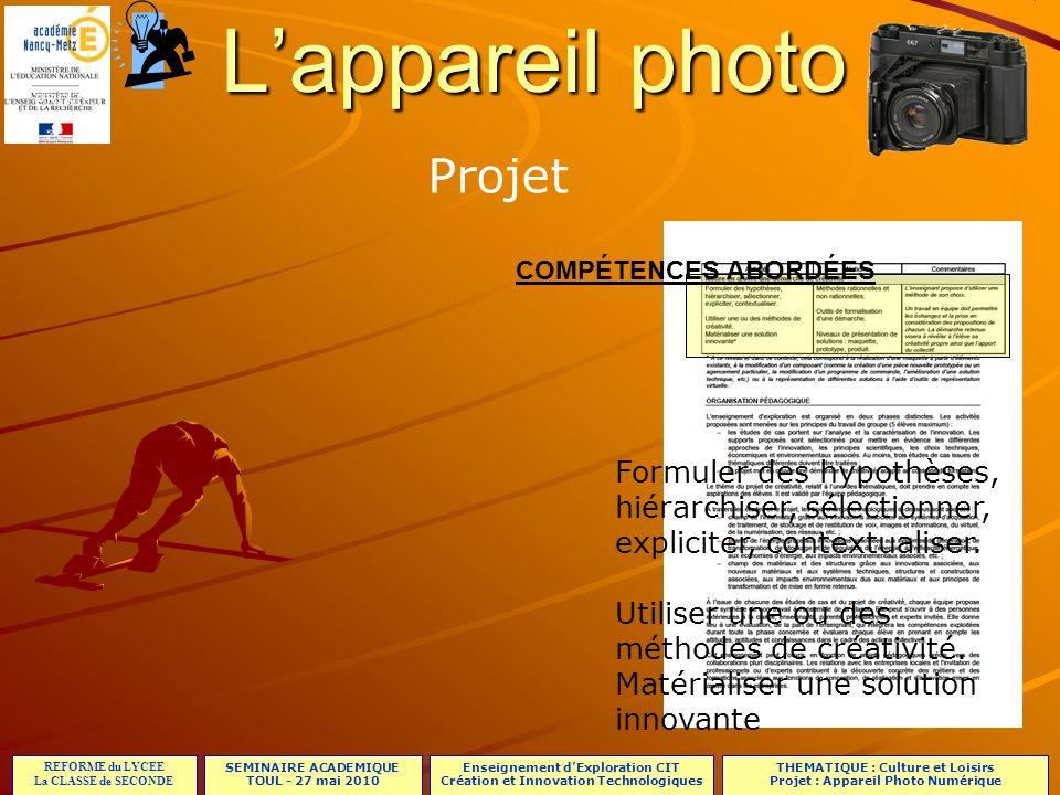 L'appareil photo Projet