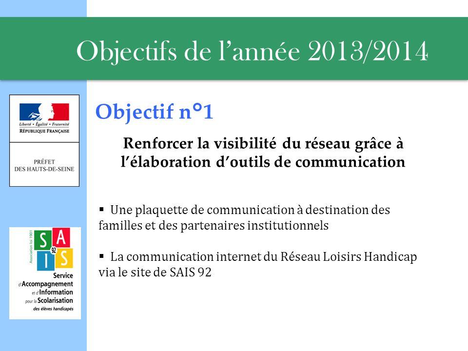 Objectifs de l'année 2013/2014 Objectif n°1