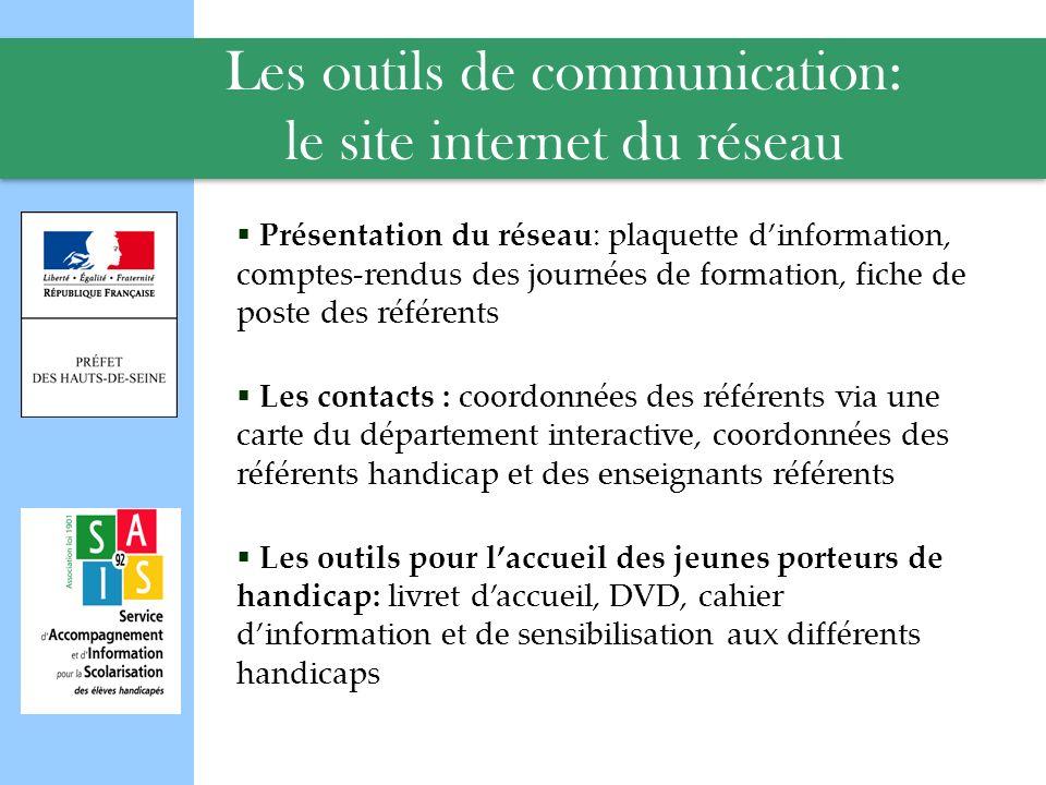 Les outils de communication: le site internet du réseau