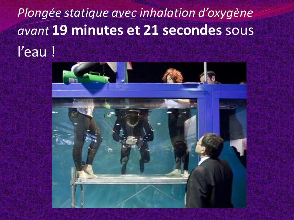 Plongée statique avec inhalation d'oxygène avant 19 minutes et 21 secondes sous l'eau !