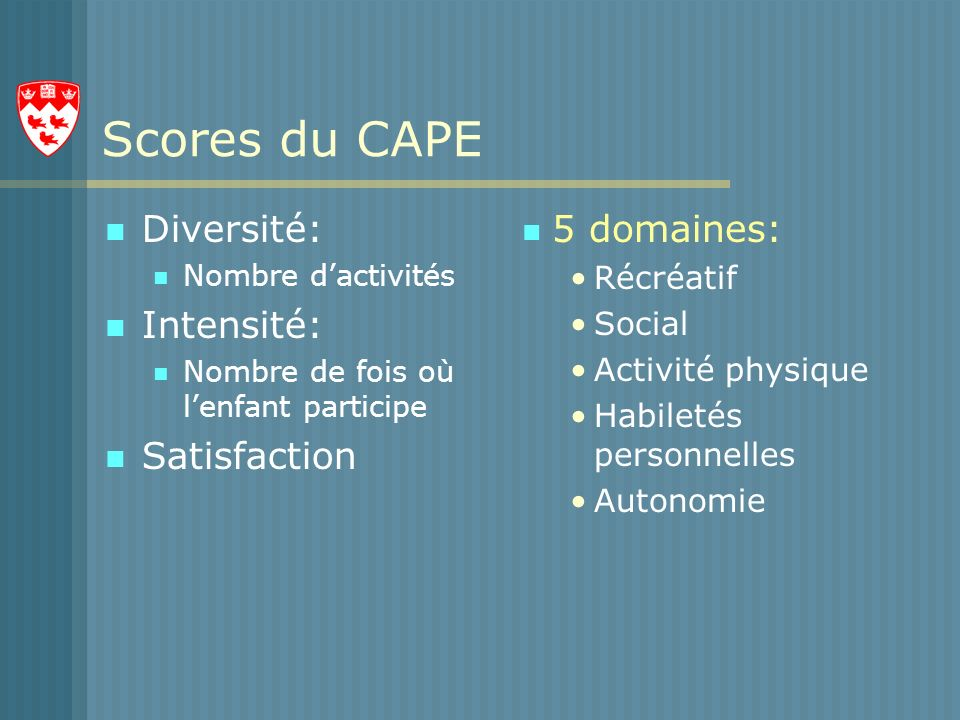 Scores du CAPE Diversité: Intensité: Satisfaction 5 domaines: