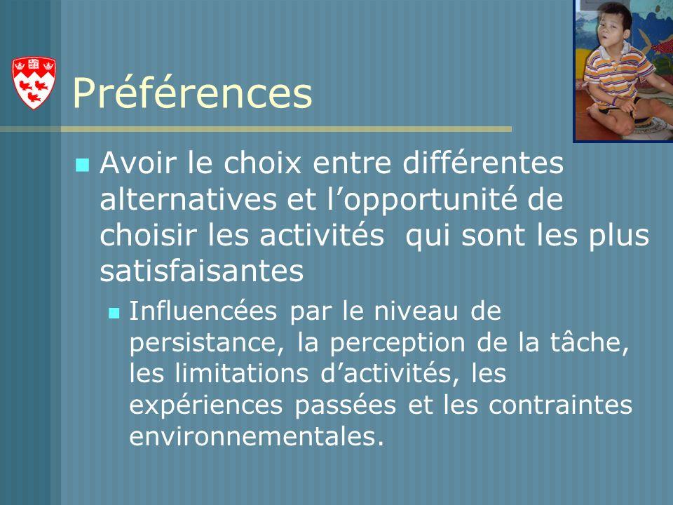 Préférences Avoir le choix entre différentes alternatives et l'opportunité de choisir les activités qui sont les plus satisfaisantes.