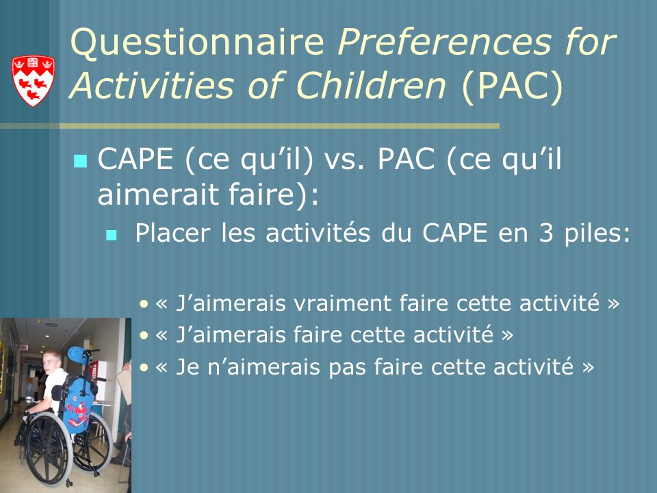 Questionnaire Preferences for Activities of Children (PAC)