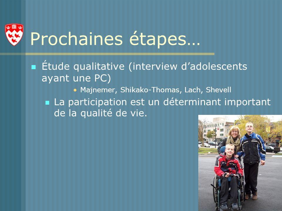 Prochaines étapes… Étude qualitative (interview d'adolescents ayant une PC) Majnemer, Shikako-Thomas, Lach, Shevell.