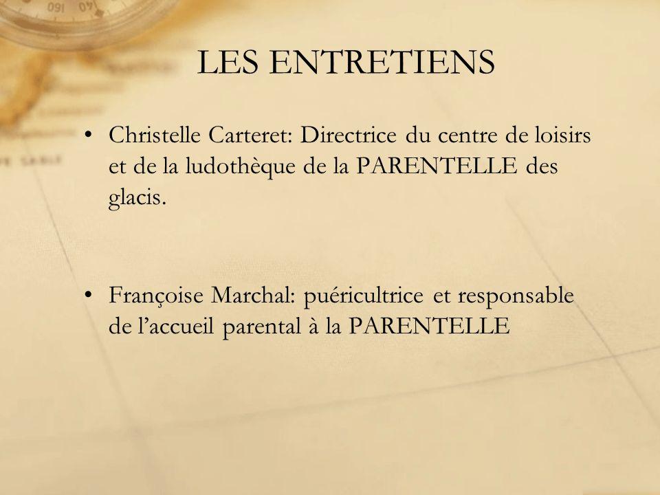 LES ENTRETIENS Christelle Carteret: Directrice du centre de loisirs et de la ludothèque de la PARENTELLE des glacis.