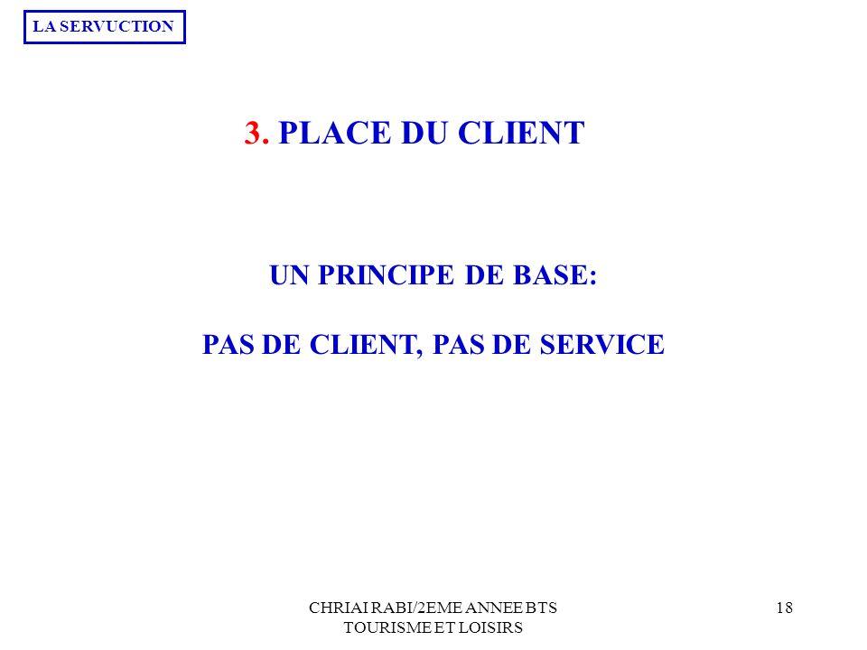 PAS DE CLIENT, PAS DE SERVICE