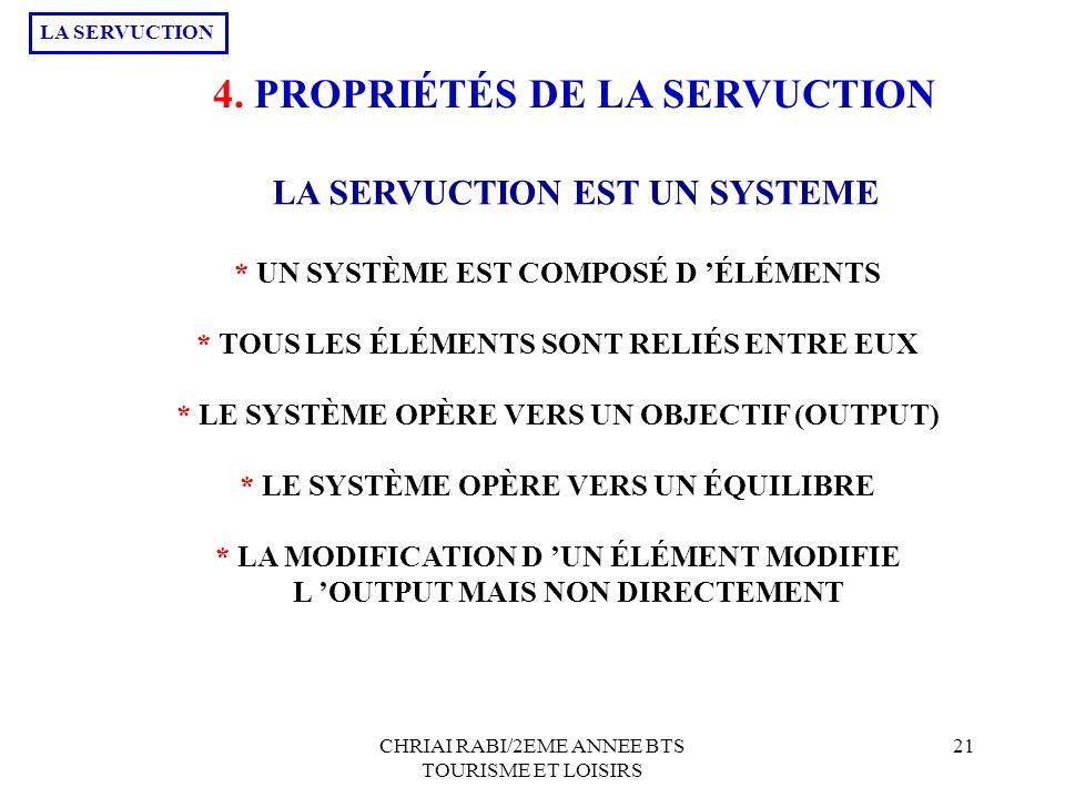 4. PROPRIÉTÉS DE LA SERVUCTION