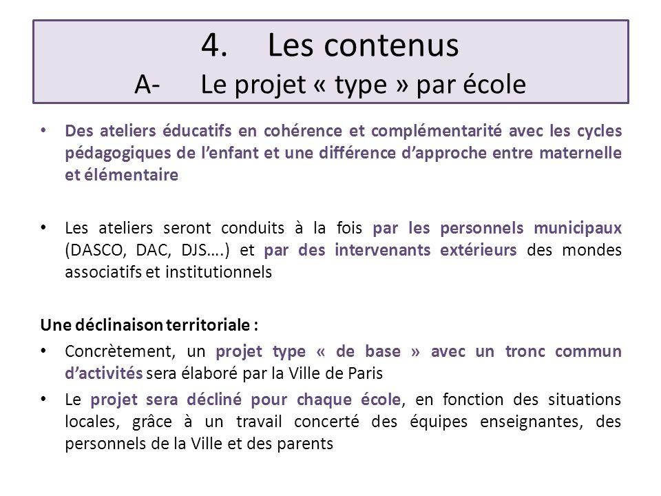 4. Les contenus A- Le projet « type » par école