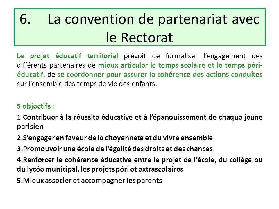 6. La convention de partenariat avec le Rectorat