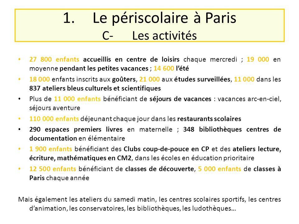 1. Le périscolaire à Paris C- Les activités