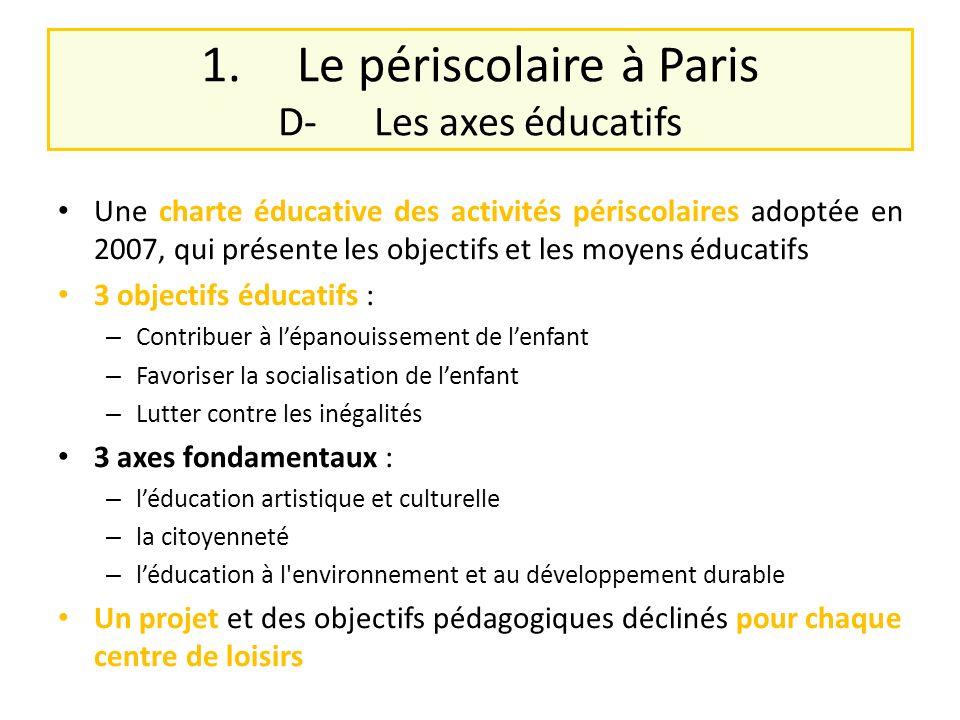 1. Le périscolaire à Paris D- Les axes éducatifs