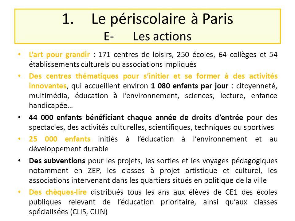 1. Le périscolaire à Paris E- Les actions