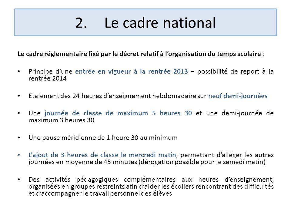 2. Le cadre national Le cadre réglementaire fixé par le décret relatif à l'organisation du temps scolaire :