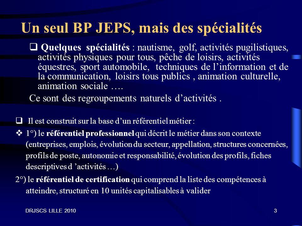Un seul BP JEPS, mais des spécialités