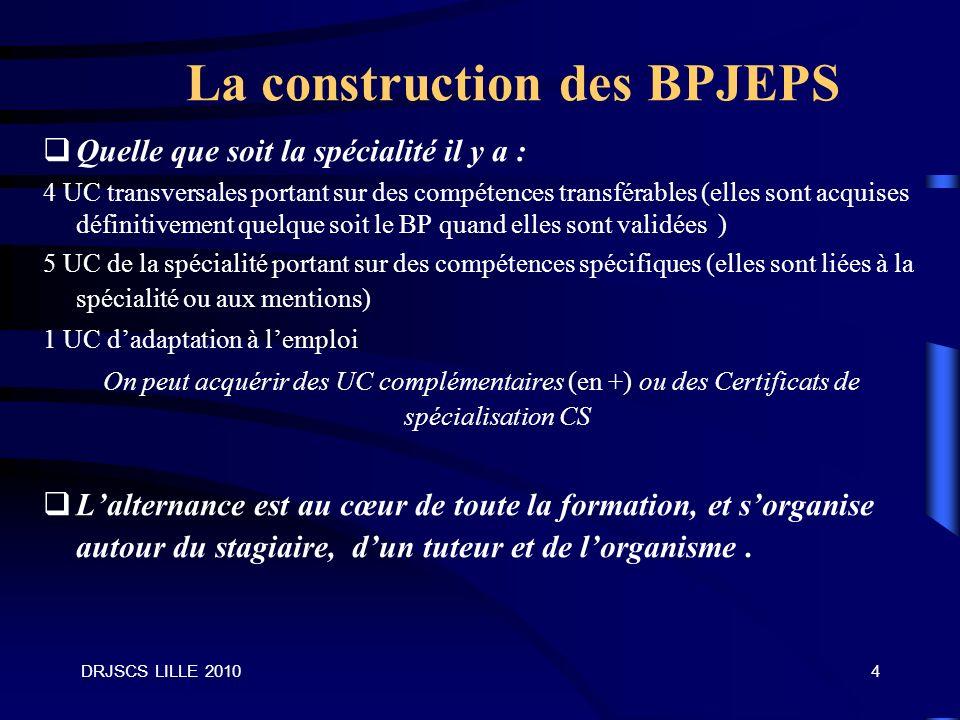 La construction des BPJEPS