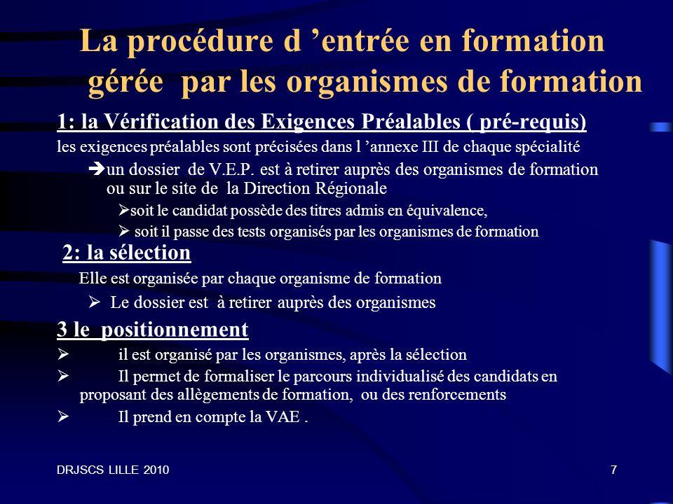 La procédure d 'entrée en formation gérée par les organismes de formation