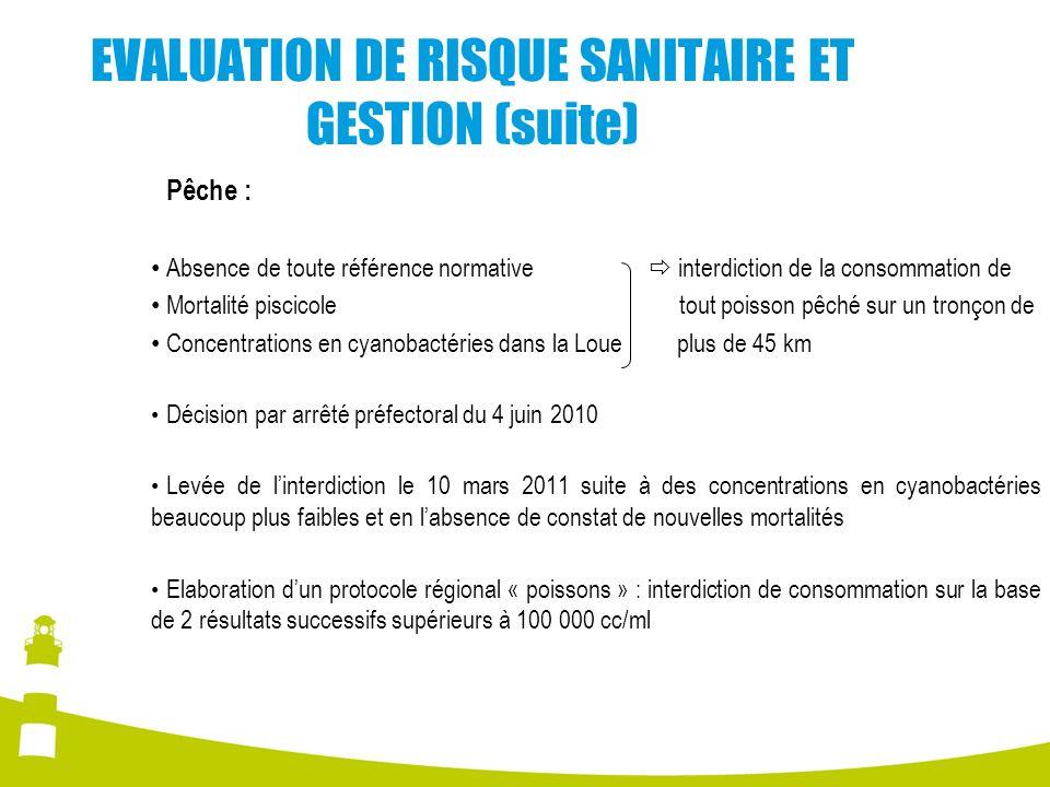 EVALUATION DE RISQUE SANITAIRE ET GESTION (suite)