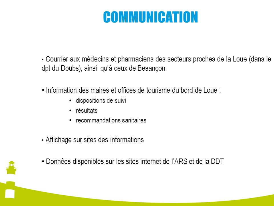 COMMUNICATION Courrier aux médecins et pharmaciens des secteurs proches de la Loue (dans le dpt du Doubs), ainsi qu'à ceux de Besançon.