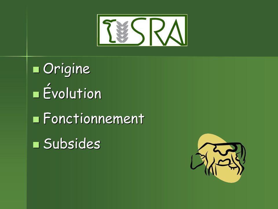 Origine Évolution Fonctionnement Subsides