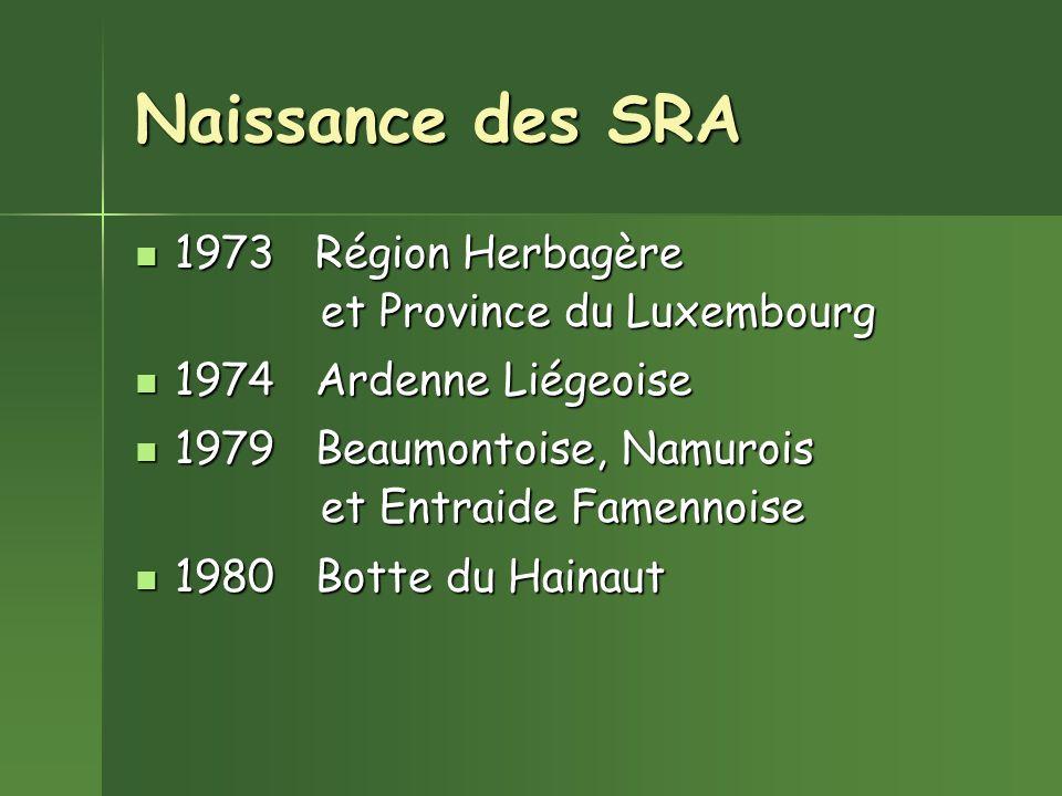 Naissance des SRA 1973 Région Herbagère et Province du Luxembourg