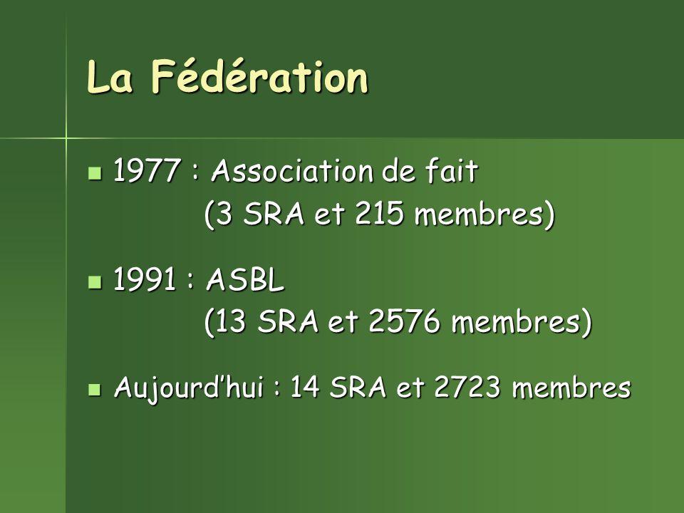 La Fédération 1977 : Association de fait 1991 : ASBL