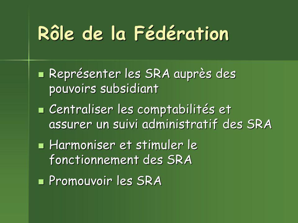 Rôle de la Fédération Représenter les SRA auprès des pouvoirs subsidiant. Centraliser les comptabilités et assurer un suivi administratif des SRA.