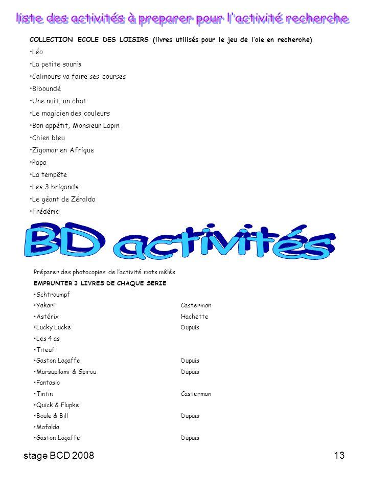 liste des activités à preparer pour l activité recherche