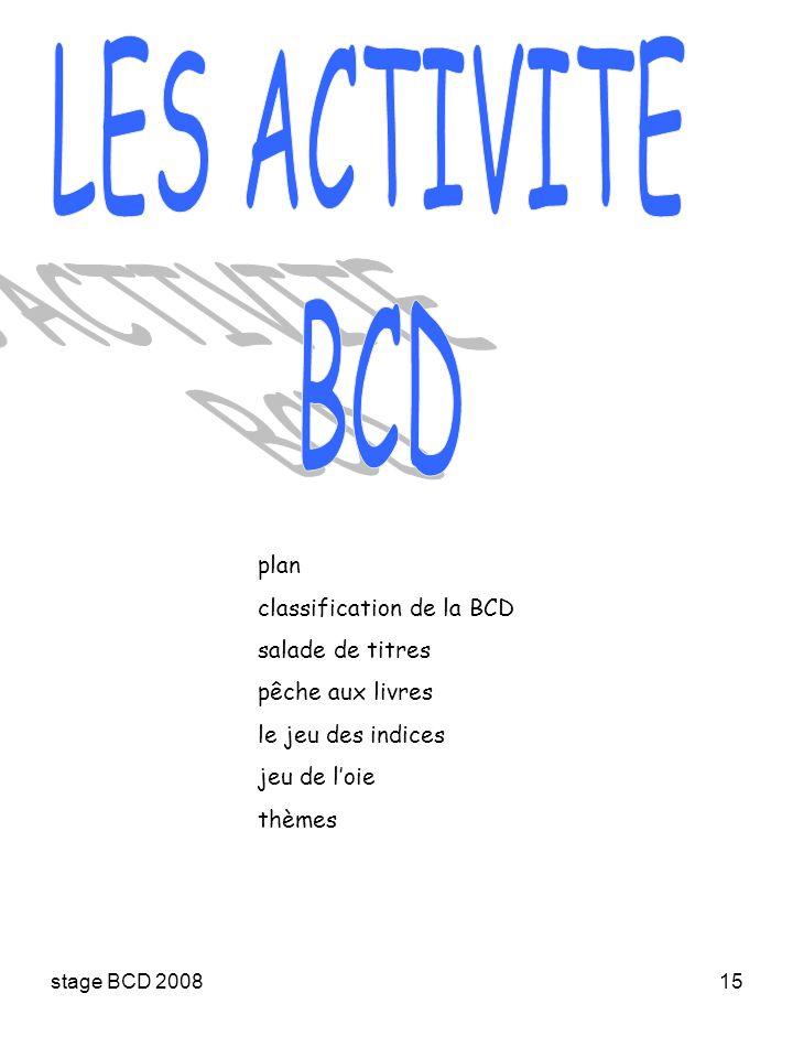 LES ACTIVITE BCD plan classification de la BCD salade de titres