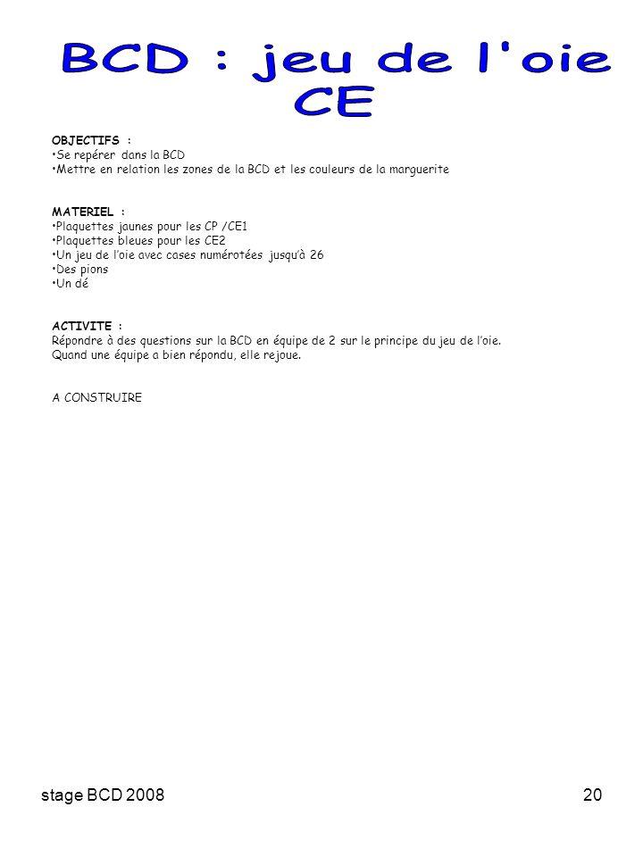 BCD : jeu de l oie CE stage BCD 2008 OBJECTIFS :
