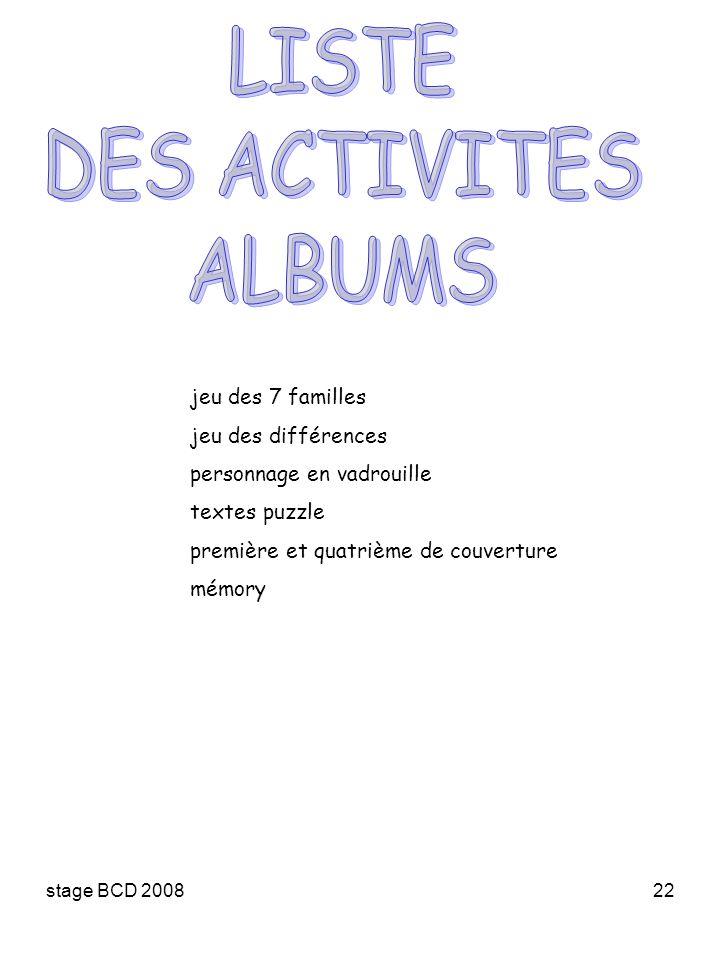LISTE DES ACTIVITES ALBUMS jeu des 7 familles jeu des différences
