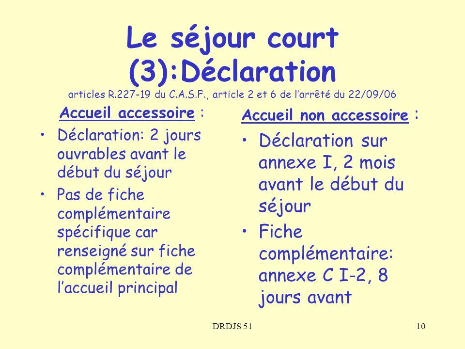Le séjour court (3):Déclaration articles R. 227-19 du C. A. S. F