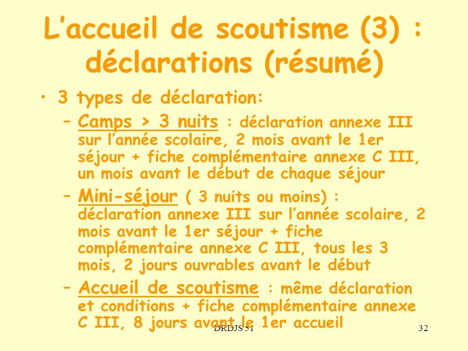 L'accueil de scoutisme (3) : déclarations (résumé)