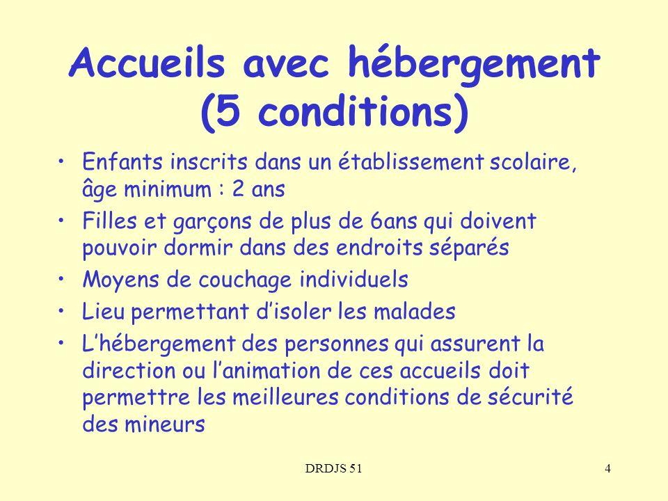 Accueils avec hébergement (5 conditions)