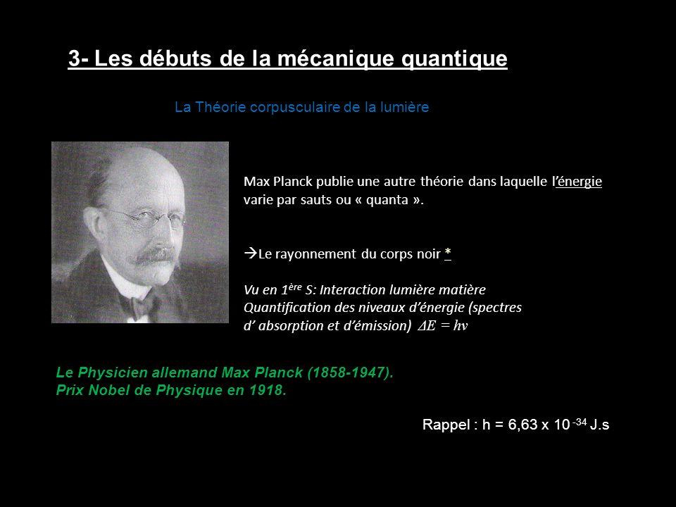 3- Les débuts de la mécanique quantique