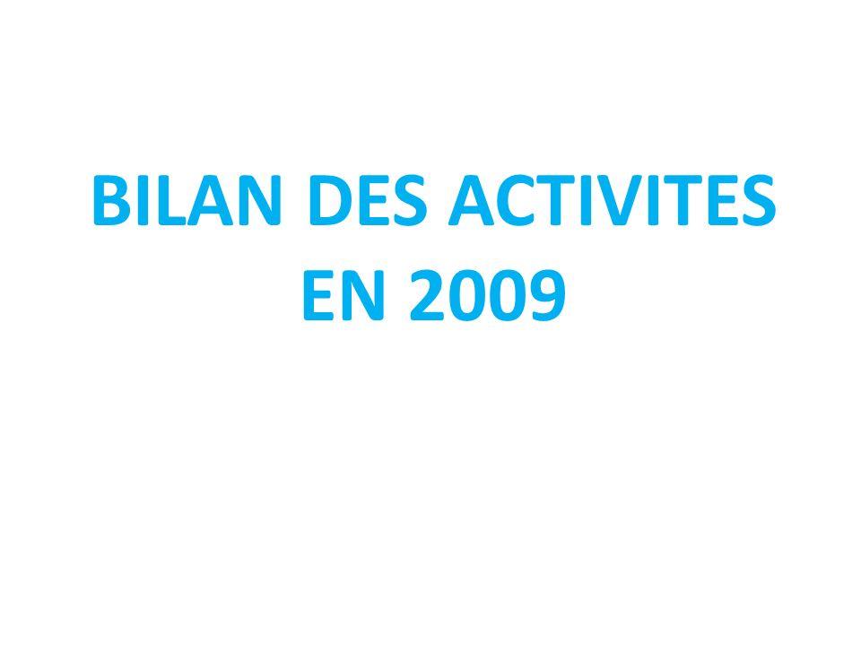 BILAN DES ACTIVITES EN 2009
