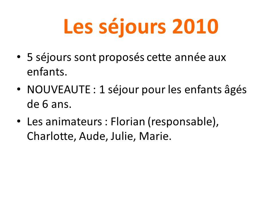 Les séjours 2010 5 séjours sont proposés cette année aux enfants.