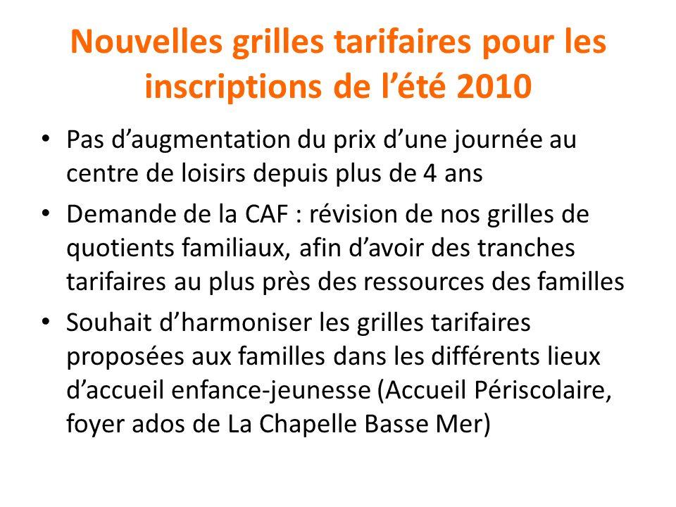 Nouvelles grilles tarifaires pour les inscriptions de l'été 2010
