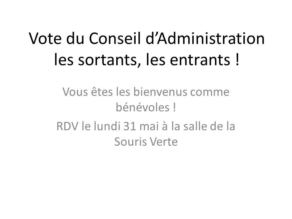 Vote du Conseil d'Administration les sortants, les entrants !