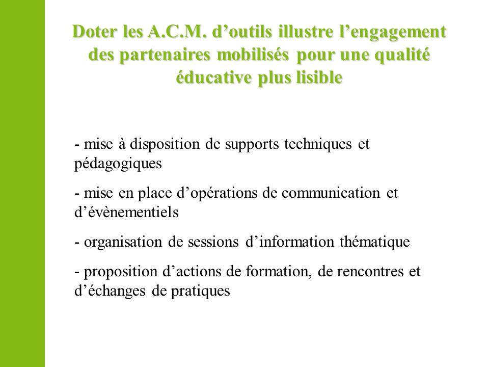 Doter les A.C.M. d'outils illustre l'engagement des partenaires mobilisés pour une qualité éducative plus lisible