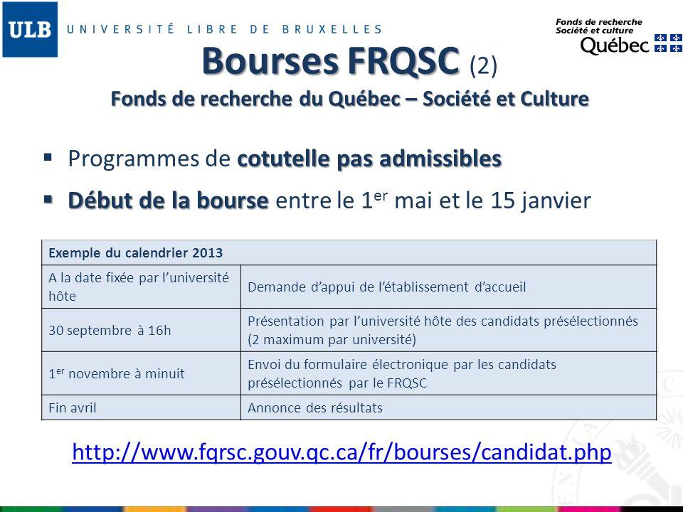 Bourses FRQSC (2) Fonds de recherche du Québec – Société et Culture