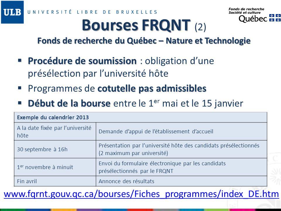 Bourses FRQNT (2) Fonds de recherche du Québec – Nature et Technologie