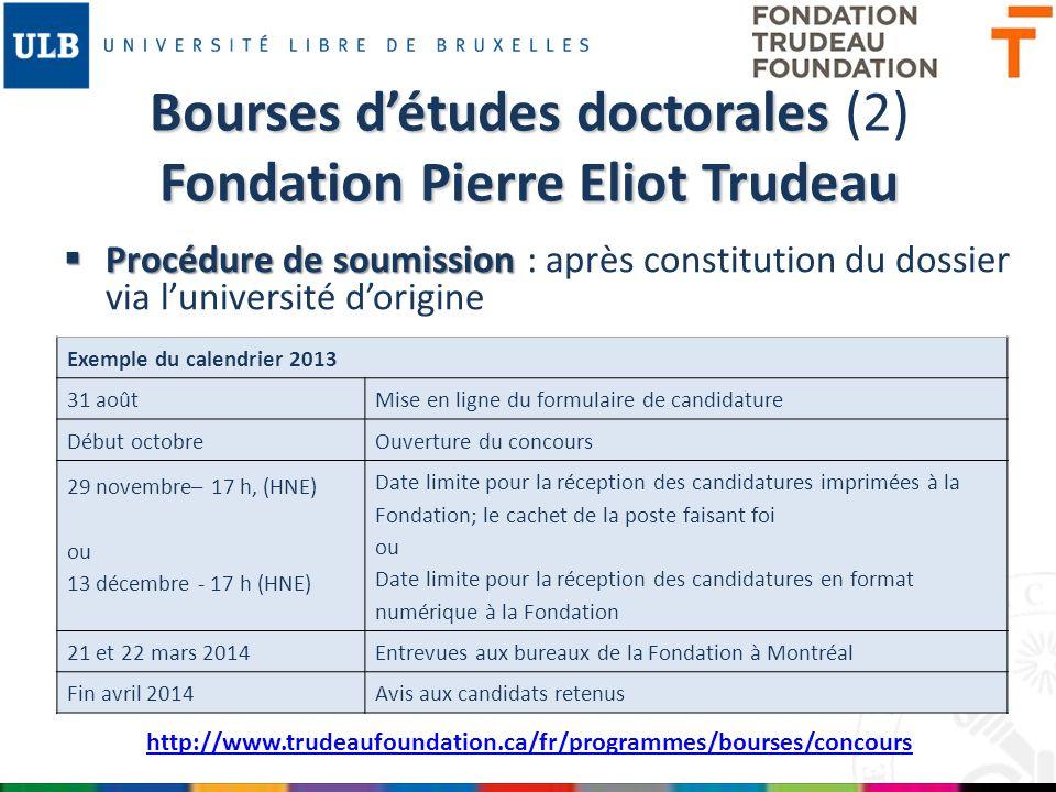 Bourses d'études doctorales (2) Fondation Pierre Eliot Trudeau